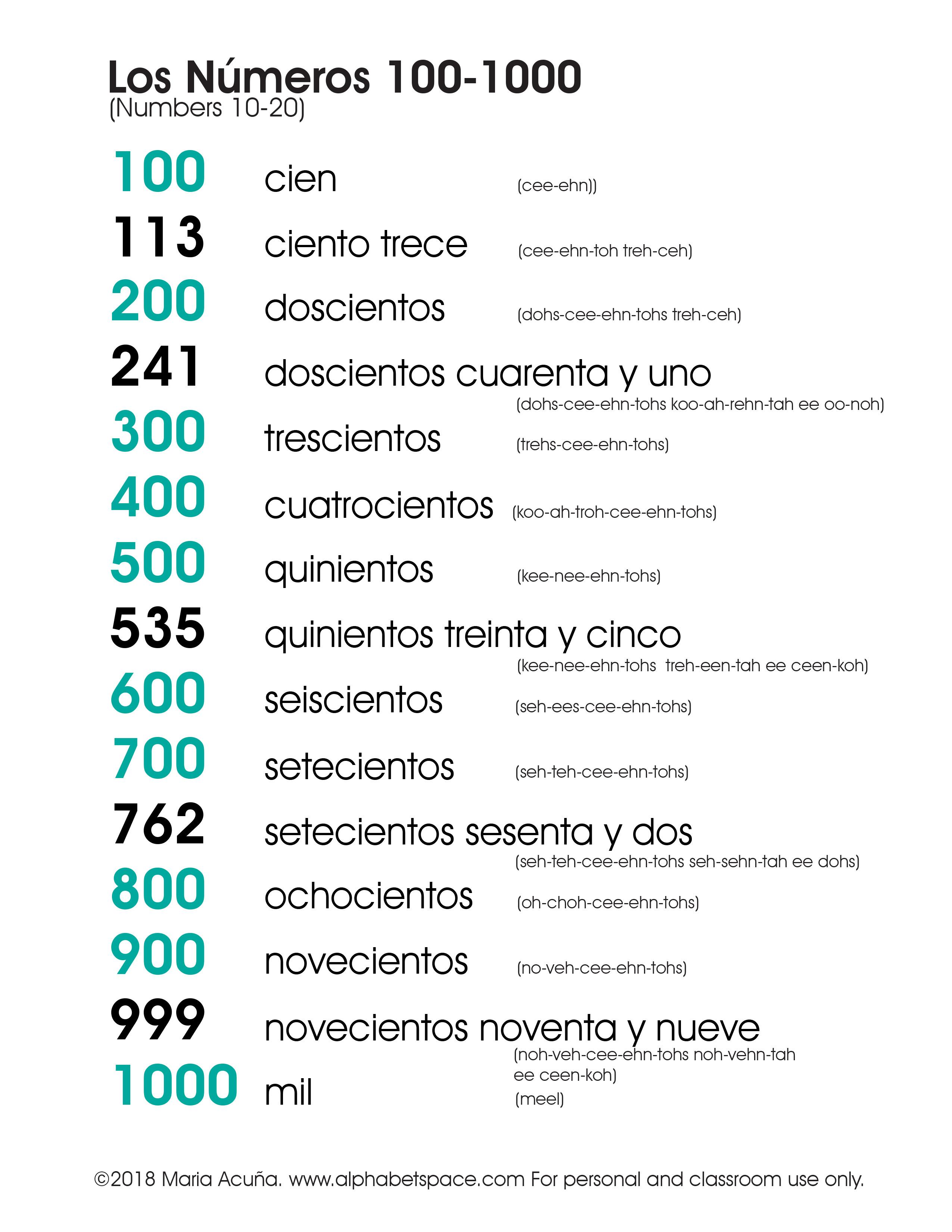 Números  100-1000 F