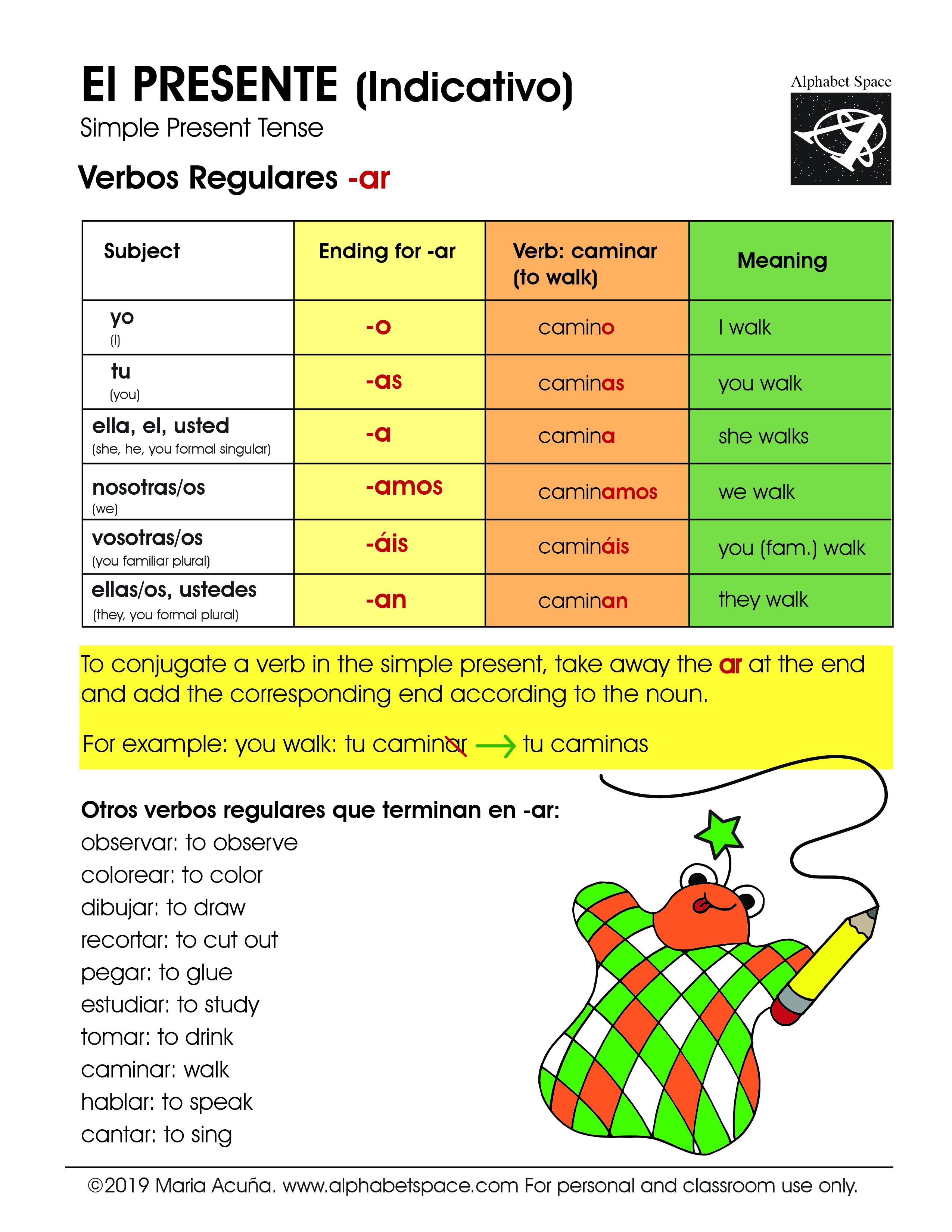 Present -ar reg Graphic. ©2019 Maria Acuña. For personal or classroom use only..jpg